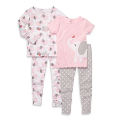 Carter's® Grey and Pink Elephant Print Cotton 4-Piece PJs