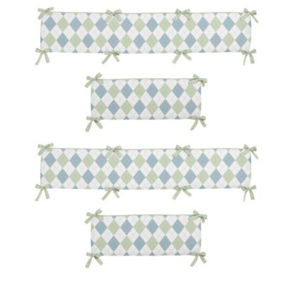 Sweet Jojo Designs Argyle 4-Piece Crib Bumper Set in Blue/Green