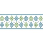 Sweet Jojo Designs Argyle Wall Paper Borders in Blue/Green