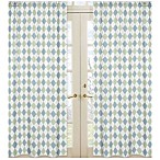 Sweet Jojo Designs Argyle Window Panel Pair in Blue/Green
