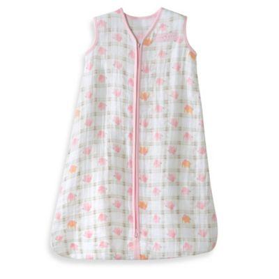 HALO® SleepSack® Size Medium Cotton Muslin Wearable Blanket in Pink Elephant