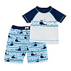 Baby Buns Blue Lazy Whales 2-Piece Rashguard Swim Set