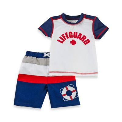 Baby Buns Red-White-Blue Lifeguard On Duty 2-Piece Rashguard Swim Set