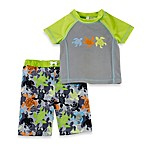 Baby Buns Green Turtles 2-Piece Rashguard Swim Set