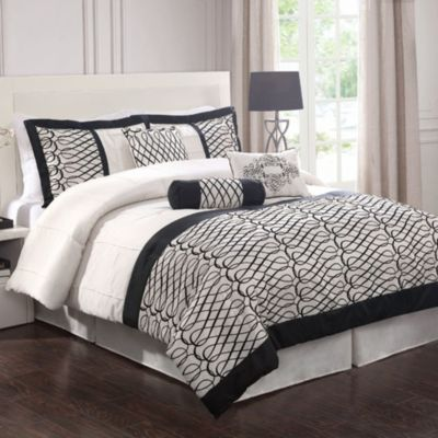 Flocked Bows 7-Piece Queen Comforter Set