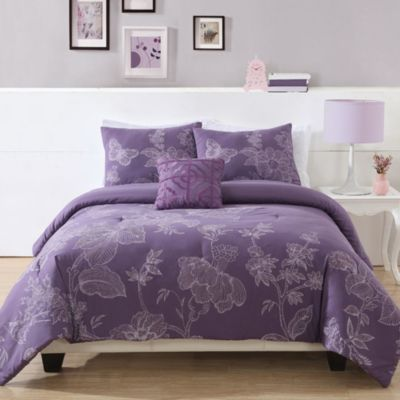 Etched Floral Twin Comforter Set