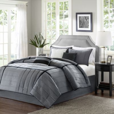 Black Grey Queen Comforter Set