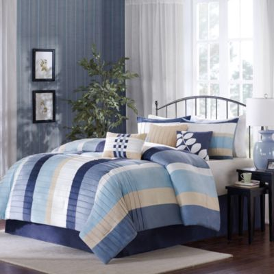 Madison Park Larson 7-Piece Comforter Set in Blue