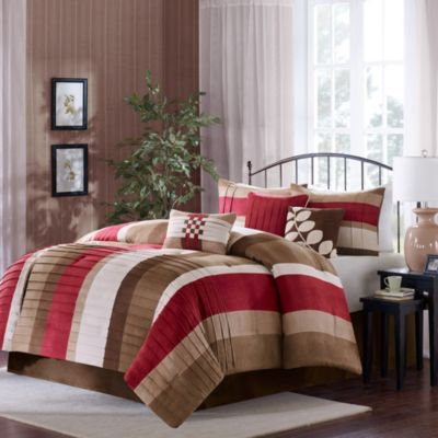 Madison Park Larson 7-Piece Comforter Set in Red