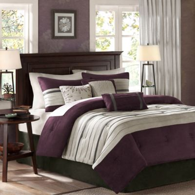 Madison Park Palmer 7-Piece California King Comforter Set in Plum