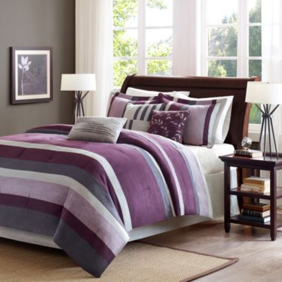Madison Park Boulder Stripe 7-Piece Comforter Set in Plum
