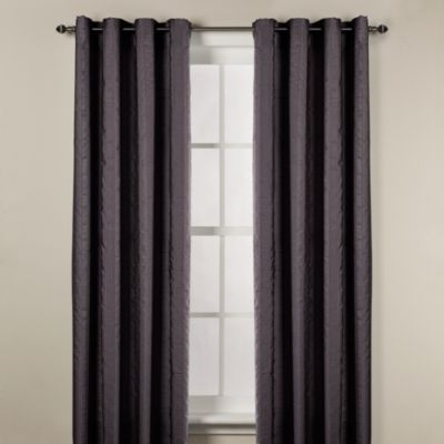 Chandler 63-Inch Woven Stripe Window Curtain Panel in Charcoal