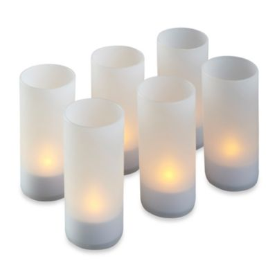 Loft Living Flameless Tealight Candle with Votive Frosted Glass Holder (Set of 6)