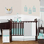 Sweet Jojo Designs Zig Zag Crib Bedding Collection in Turquoise/Grey