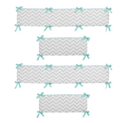 Sweet Jojo Designs Zig Zag Crib Bumper in Turquoise/Grey
