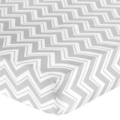 Sweet Jojo Designs Zig Zag Crib Sheet in Grey