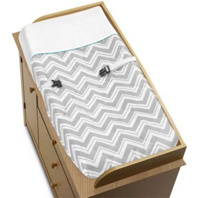 Sweet Jojo Designs Zig Zag Changing Pad Cover in Turquoise/Grey