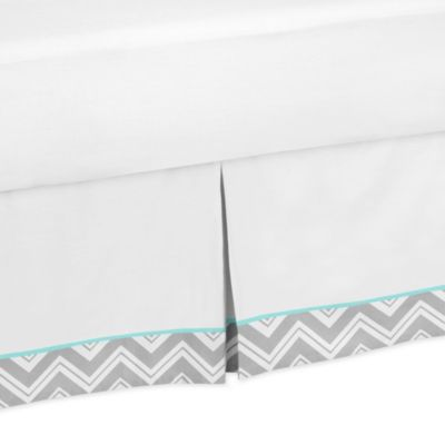 Sweet Jojo Designs Zig Zag Collection Queen Bed Skirt in Turquoise/Grey
