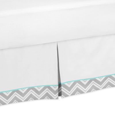 Sweet Jojo Designs Zig Zag Tailored Bed Skirt Turquoise/Grey