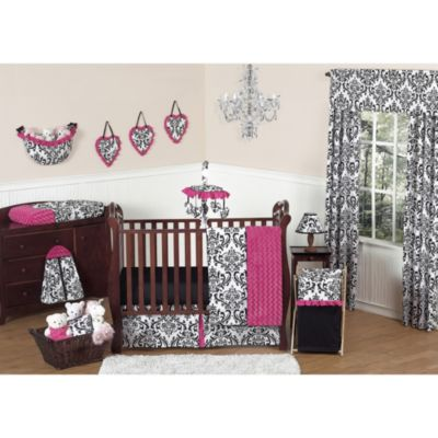 Sweet Jojo Designs Isabella 11-Piece Crib Bedding Set In Hot Pink and Black/White
