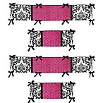 Sweet Jojo Designs Isabella Crib Bumper In Hot Pink and Black/White