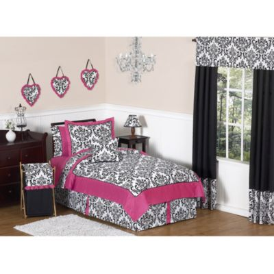 Sweet Jojo Designs Isabella Standard Pillow Sham in Hot Pink/Black/White