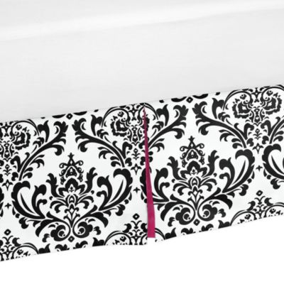 Sweet Jojo Designs Isabella Queen Bed Skirt in Hot Pink/Black/White