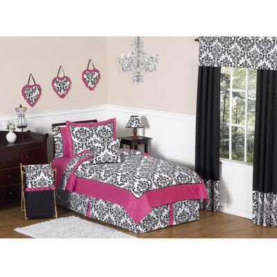 Sweet Jojo Designs Isabella 4-Piece Bedding Set in Hot Pink/Black/White