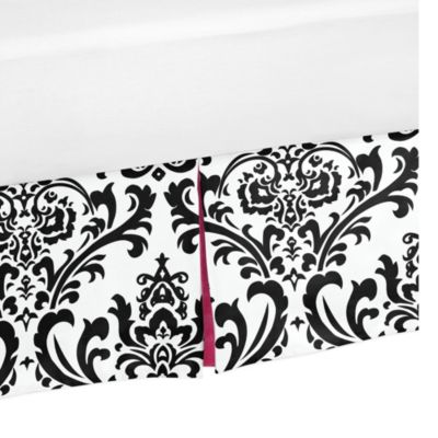 Sweet Jojo Designs Isabella Toddler Bed Skirt in Pink/Black/White