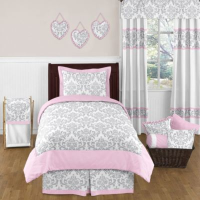 Sweet Jojo Designs Elizabeth 4-Piece Twin Comforter Set in Pink/Grey
