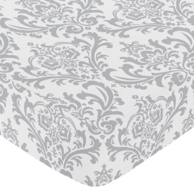Grey White Crib Sheet