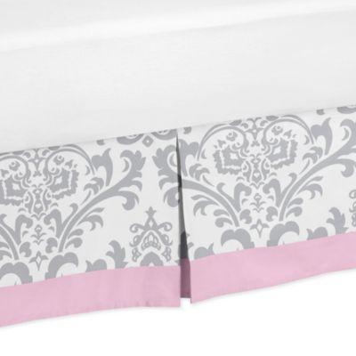 Sweet Jojo Designs Elizabeth Collection Toddler Bed Skirt in Pink/Grey