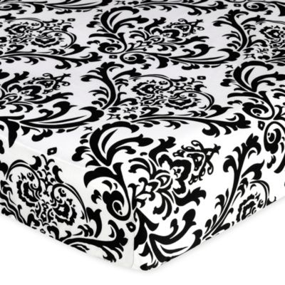 Sweet Jojo Designs Isabella Fitted Crib Sheet in Black/White