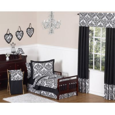 Isabella 5-Piece Toddler Bedding Set in Black/White