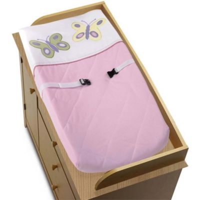 Sweet Jojo Designs Butterfly Changing Pad Cover in Pink/Purple