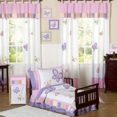 Sweet Jojo Designs Butterfly Collection 5-Piece ToddlerComforter Set in Pink/Purple