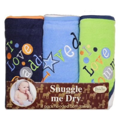Frenchie Mini Couture Boy's I Love Mommy/Daddy 3-Pack Terry Hooded Towels