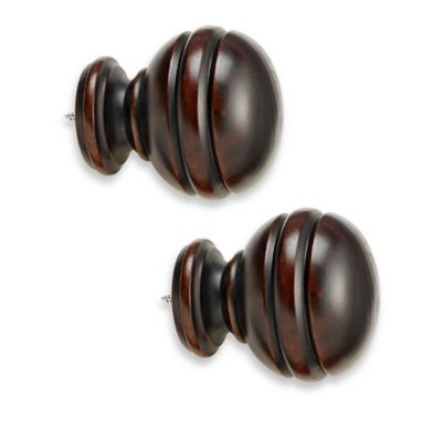 Cambria® Premier Wood Orbit Finial in Cherry (Set of 2)
