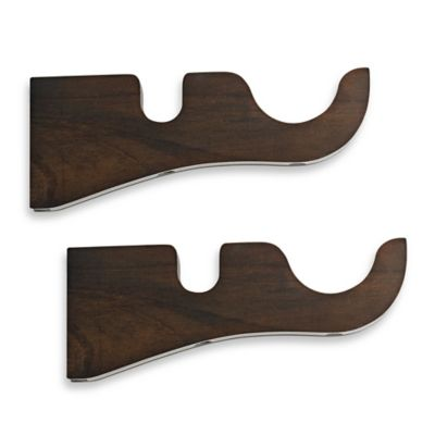 Cambria® Premier Wood Double Drapery Bracket in Chocolate (Set of 2)