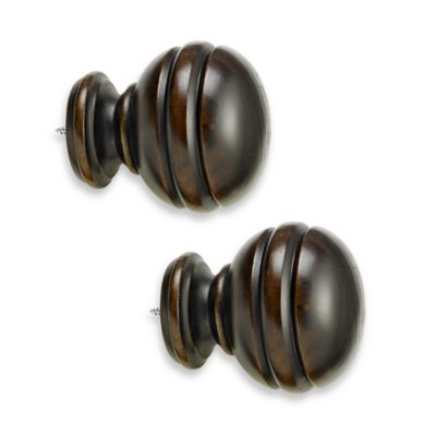 Cambria® Premier Wood Orbit Finial in Chocolate (Set of 2)