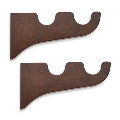 Cambria® Classic Wood Double Drapery Bracket in Dark Brown (Set of 2)