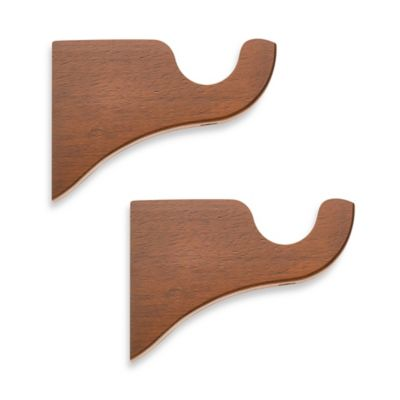 Cambria® Classic Wood Drapery Bracket in Medium Brown (Set of 2)