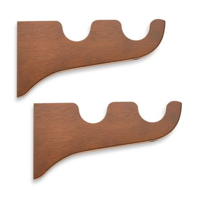 Cambria® Classic Wood Double Drapery Bracket in Medium Brown (Set of 2)