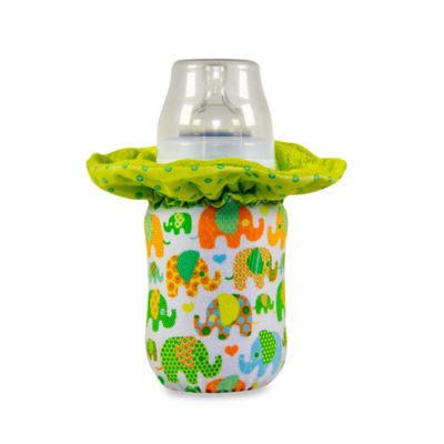WarmZe Portable Bottle Warmer Small (4-6 Ounces) Starter Kit in Green Elephant
