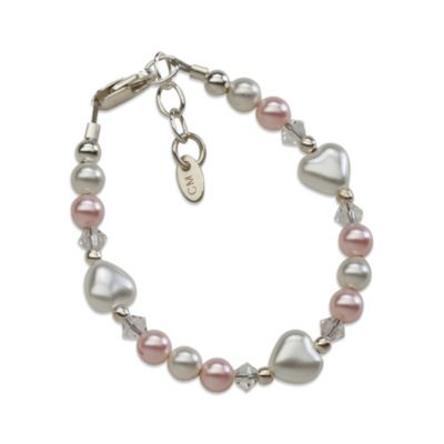 Cherished Moments Sweetheart Sterling Silver with Pink and White Pearls Bracelet
