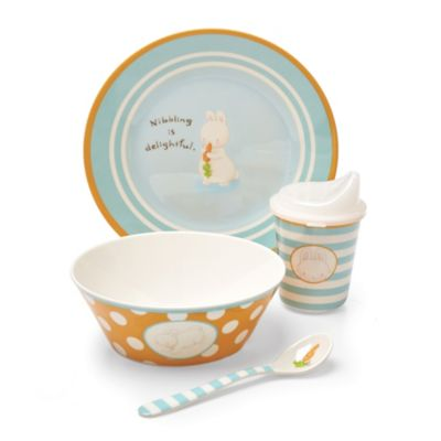 Bunnies by the Bay Nibbling is Delightful 4-Piece Melamine Dish Dinnerware Set