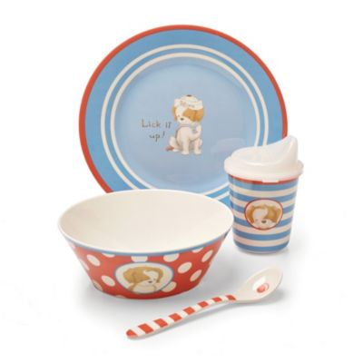 Bunnies by the Bay Lick it Up 4-Piece Melamine Dish Dinnerware Set