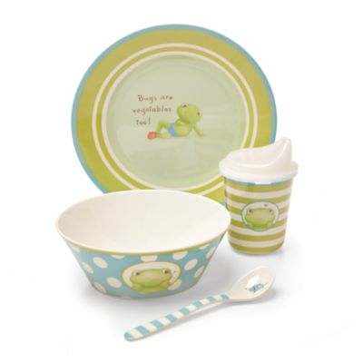 Bunnies by the Bay Bugs Are Vegetables Too 4-Piece Melamine Dish Set