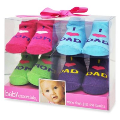 AD Sutton I Love Mom and Dad 4-Pair Sock Gift Set