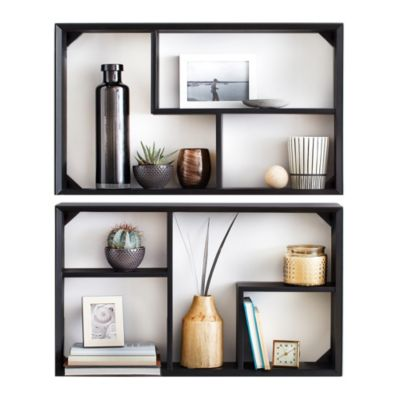 Black Shelving Wall Unit
